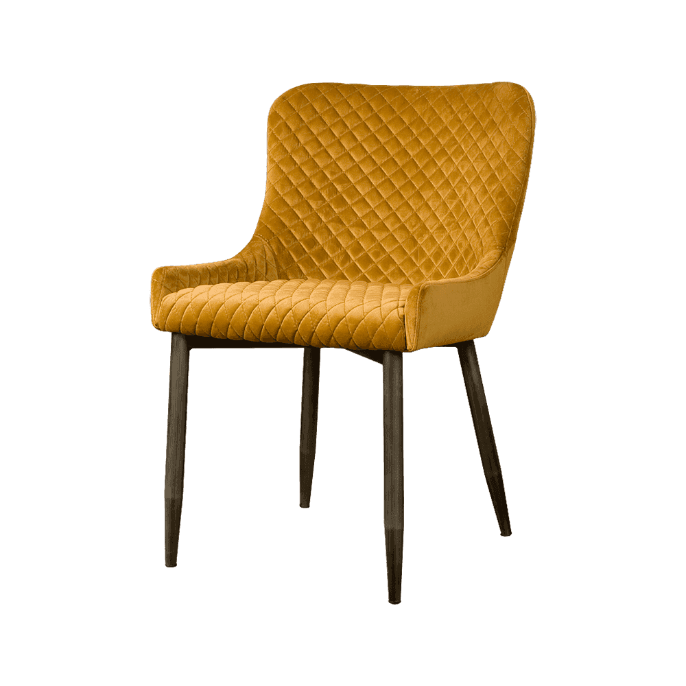 Stoel - Eetkamerstoelen - Oledo sidechair - fabric bluvel 68 yellow