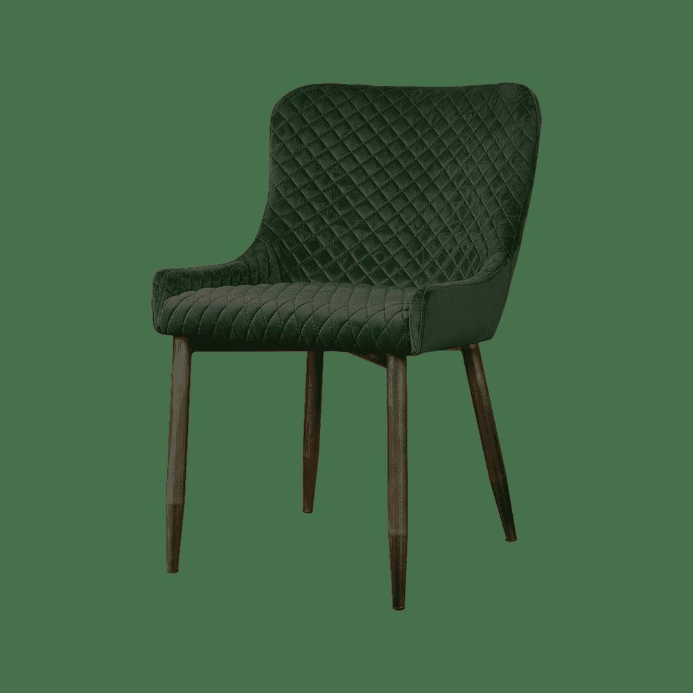 Stoel - Eetkamerstoelen - Oledo sidechair - fabric bluvel 78 green