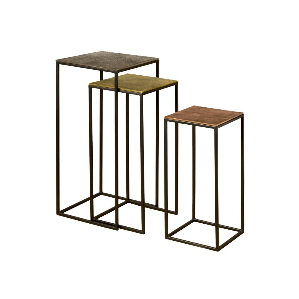 Tafel - Bijzettafels - Iron side table w alu top - set of 3