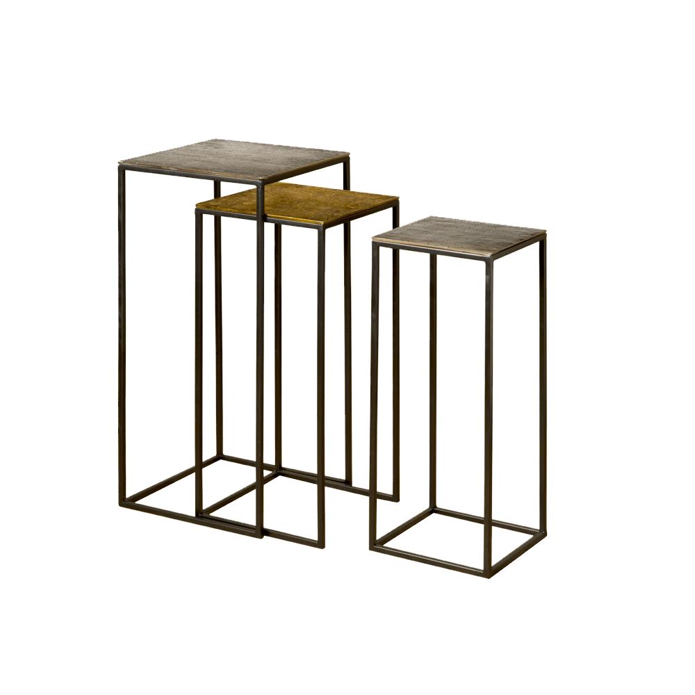 Tafel - Bijzettafels - Iron side square table w alu top - set of 3