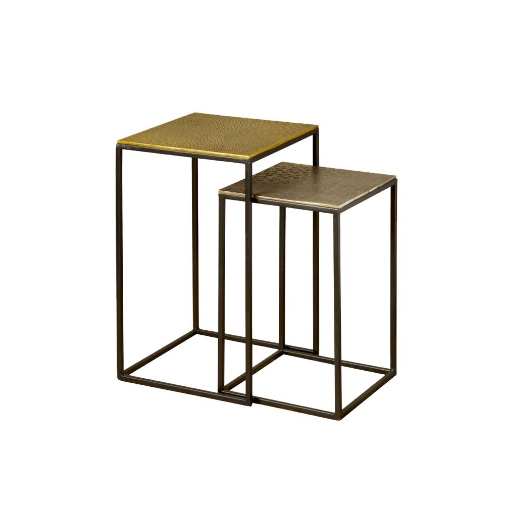 Tafel - Bijzettafels - Iron side square table w alu top - set of 2