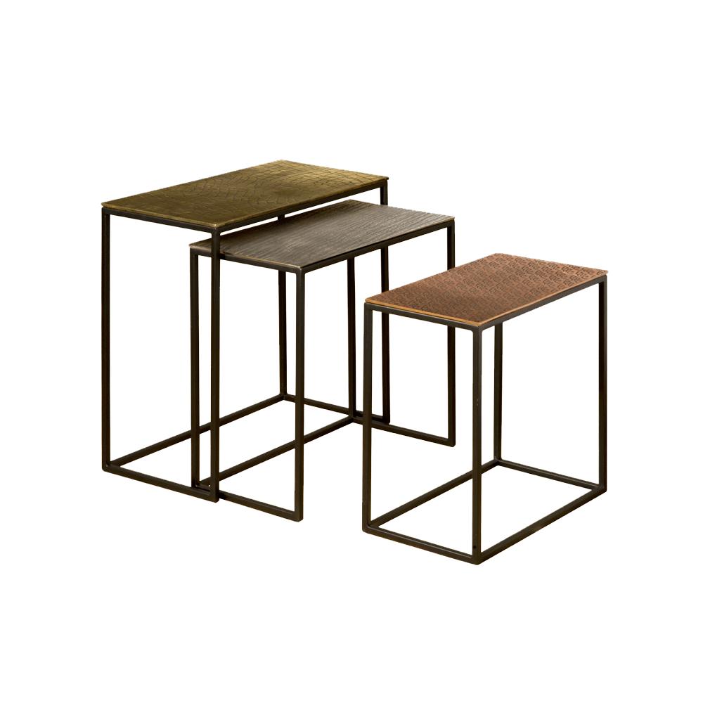 Tafel - Bijzettafels - Iron side rect. table w alu top - set of 3
