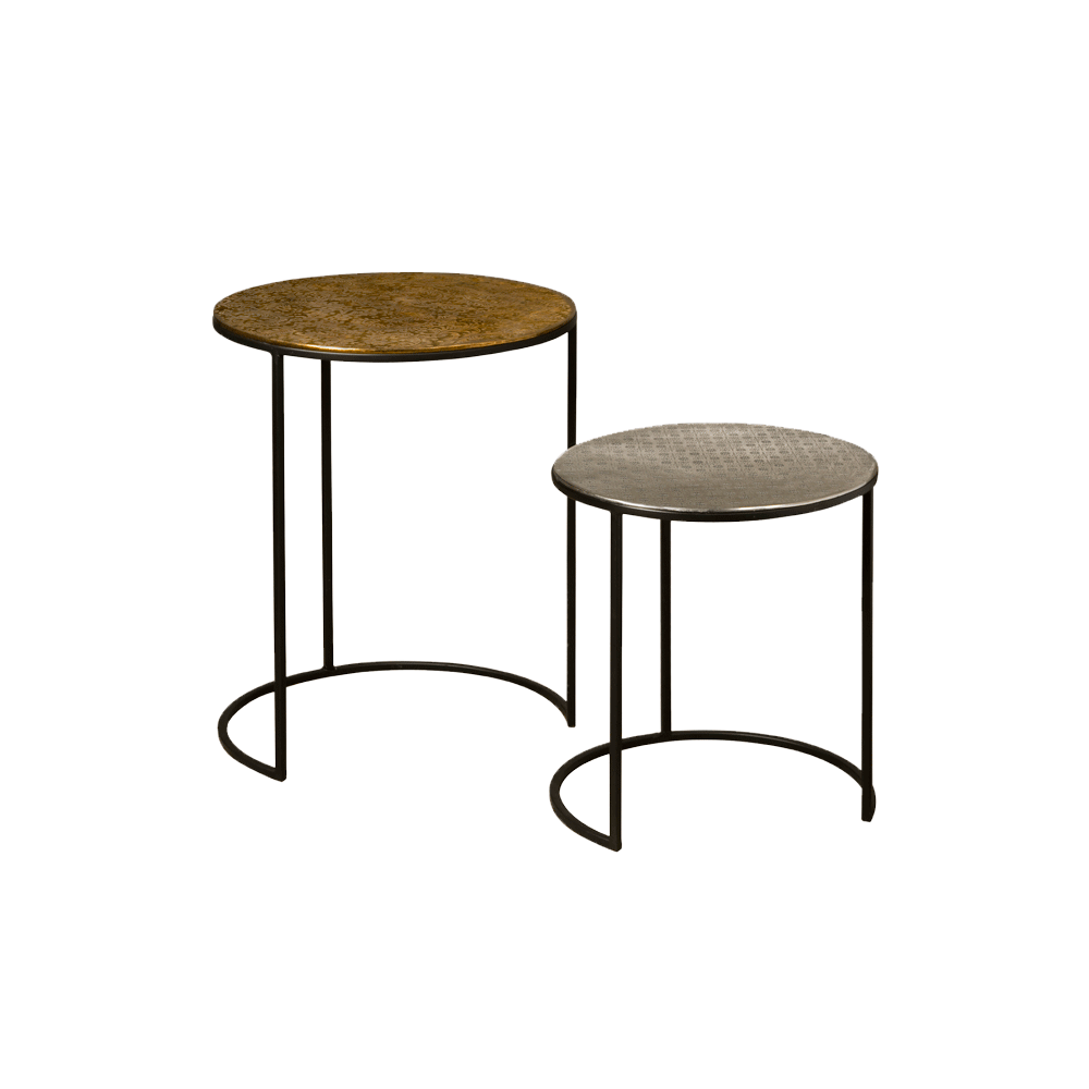 Tafel - Bijzettafels - Iron side round table w alu top - set of 2