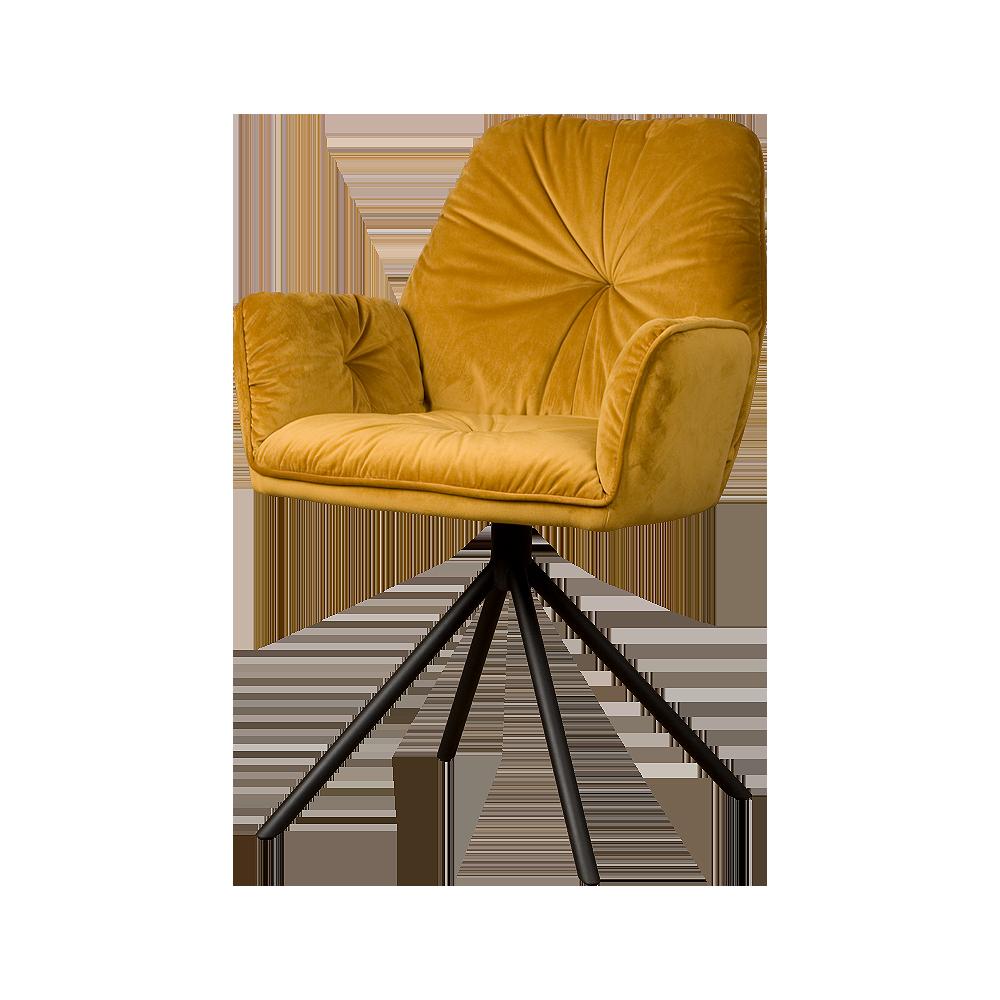 Stoel - Eetkamerstoelen - Palma armchair - fabric bluvel 68 yellow