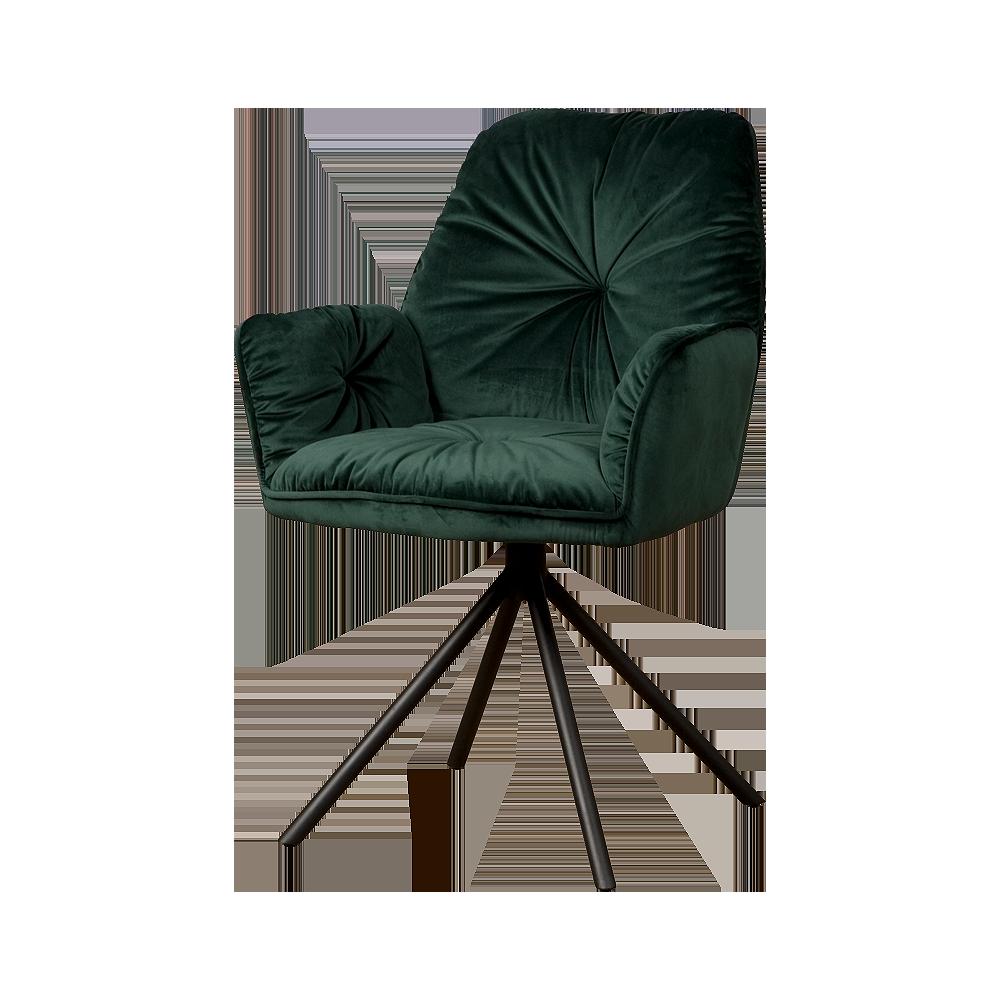Stoel - Eetkamerstoelen - Palma armchair - fabric bluvel 78 green