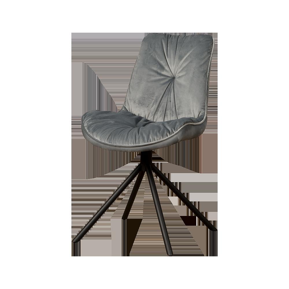 Stoel - Eetkamerstoelen - Palma sidechair - fabric bluvel 14 grey
