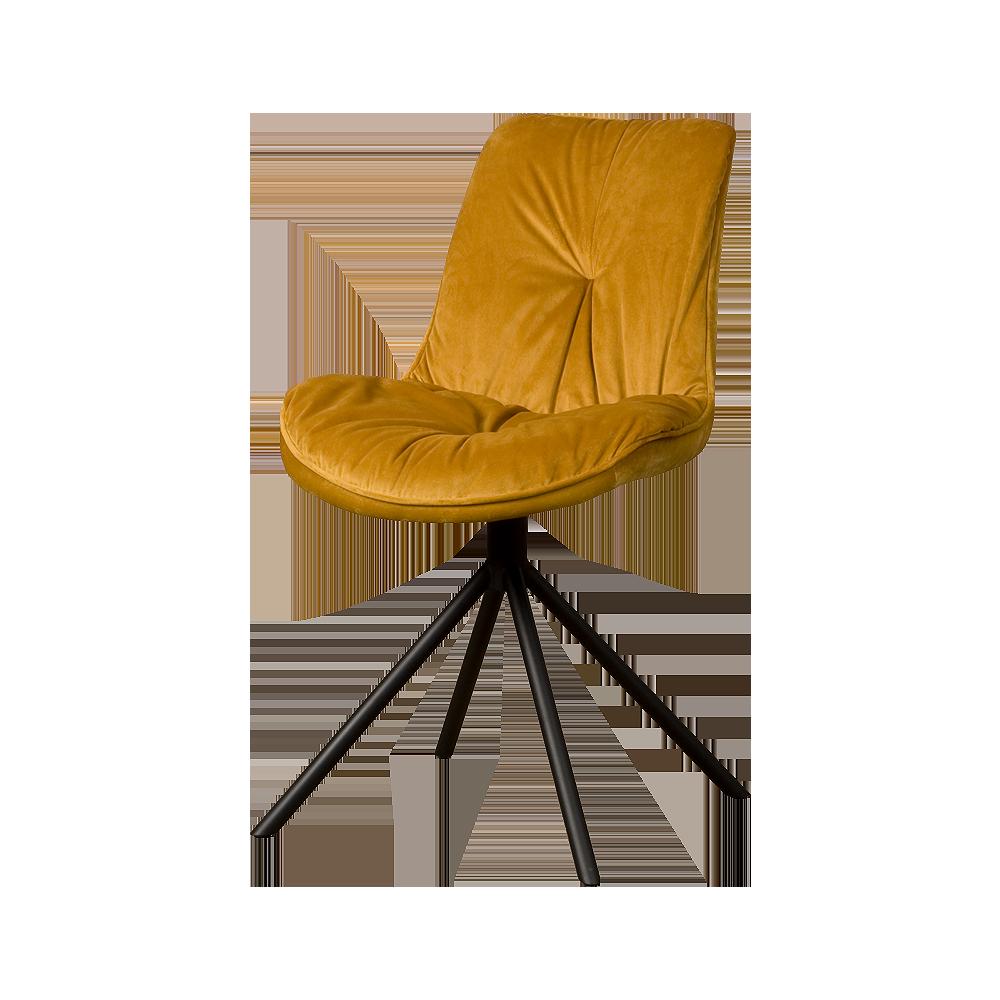 Stoel - Eetkamerstoelen - Palma sidechair - fabric bluvel 68 yellow