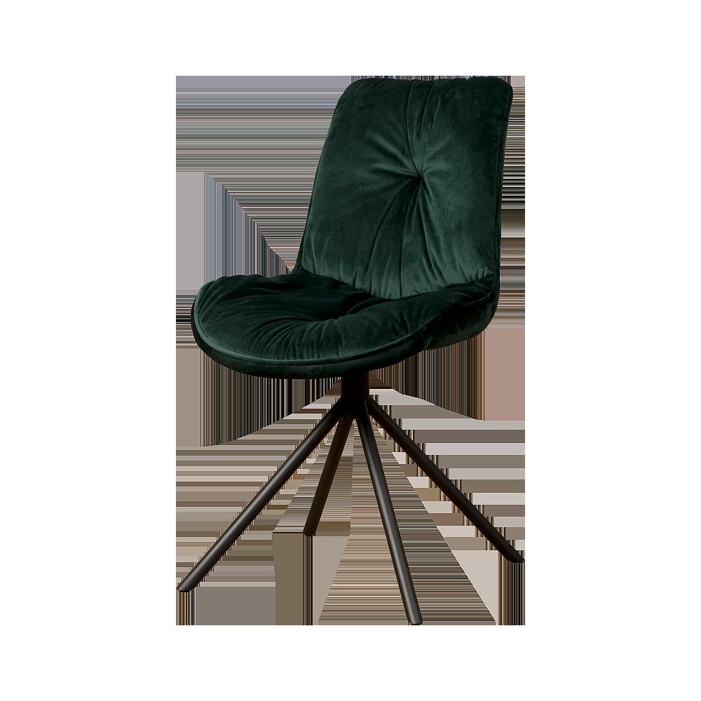 Stoel - Eetkamerstoelen - Palma sidechair - fabric bluvel 78 green