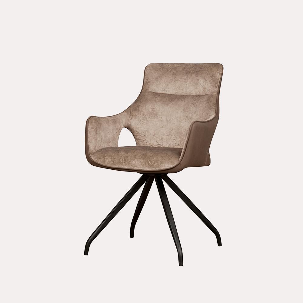 Stoel - Eetkamerstoelen - Nola swivel armchair - brown velvet 8196-9 / fabric 7501-3
