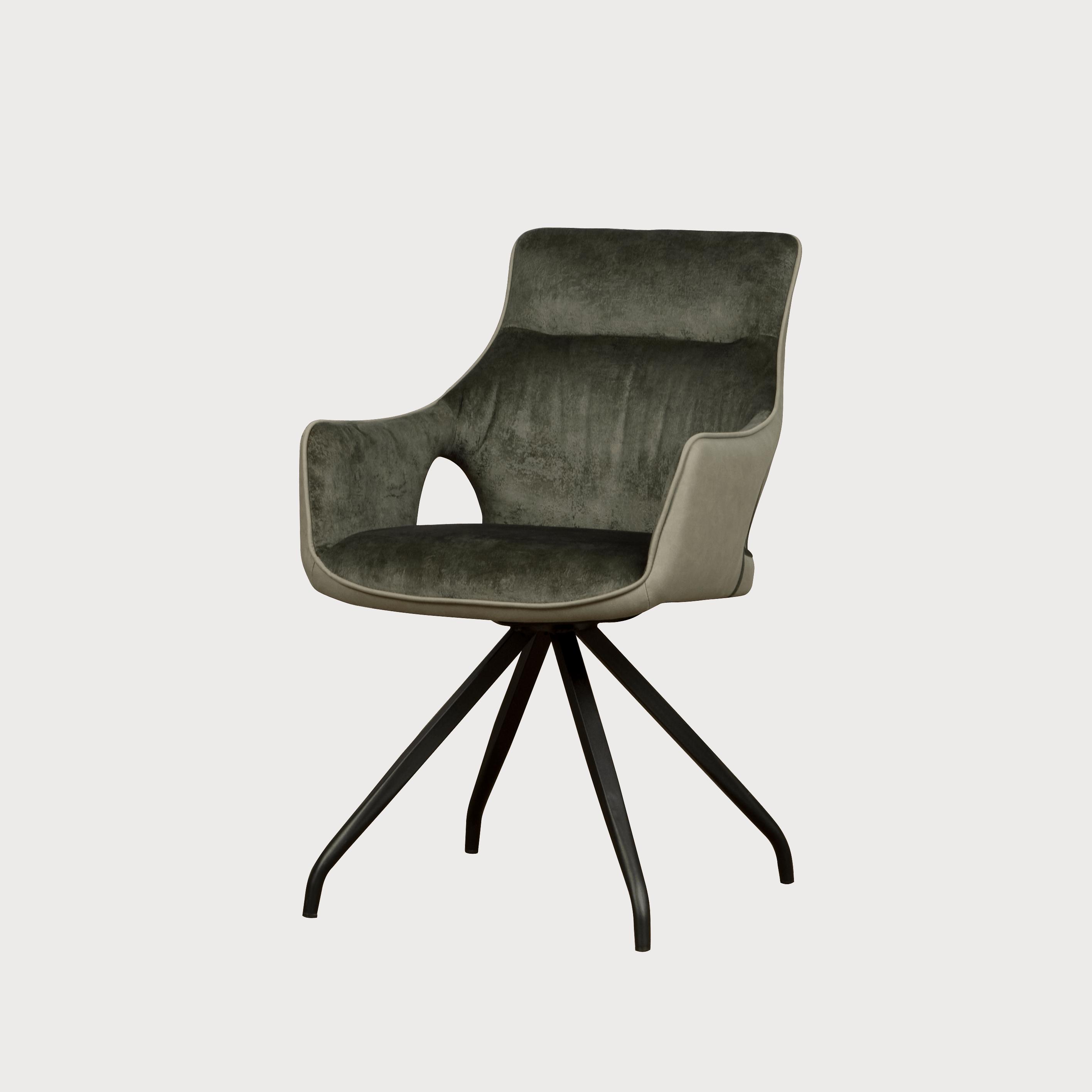 Stoel - Eetkamerstoelen - Nola swivel armchair - green velvet 8196-20 / fabric 7501-6