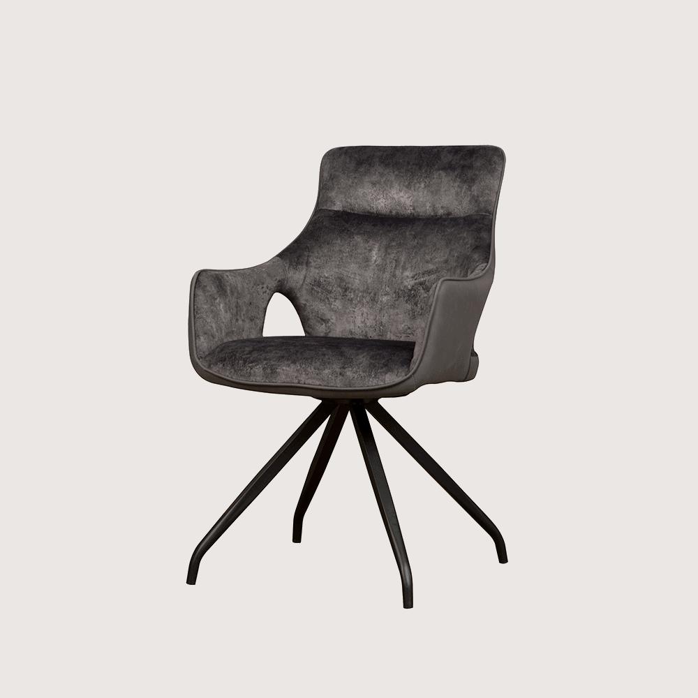 Stoel - Eetkamerstoelen - Nola swivel armchair - grey velvet 8196-21 / fabric 7501-11