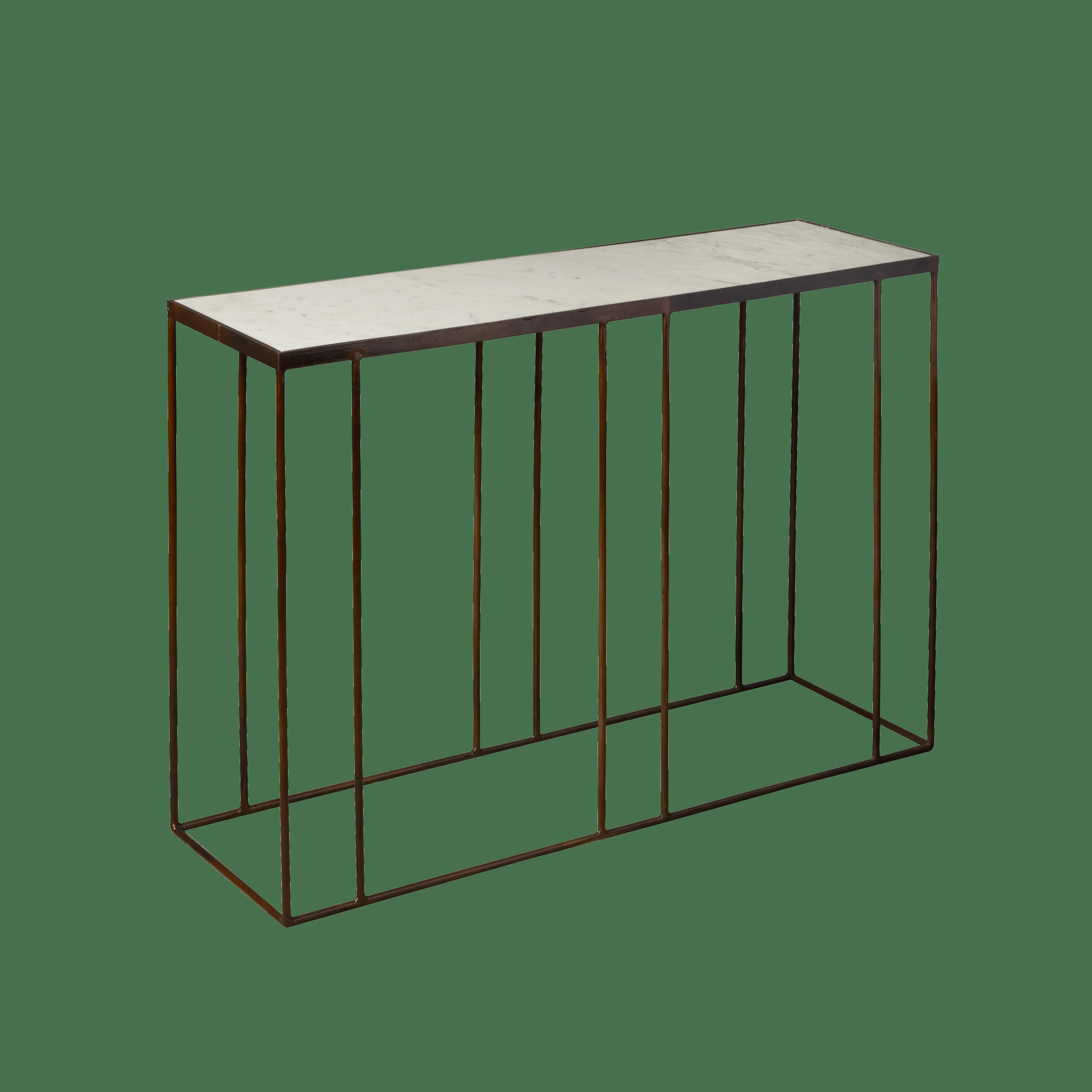 Tafel - Bijzettafels - Iron console table w marble top 103x31x77