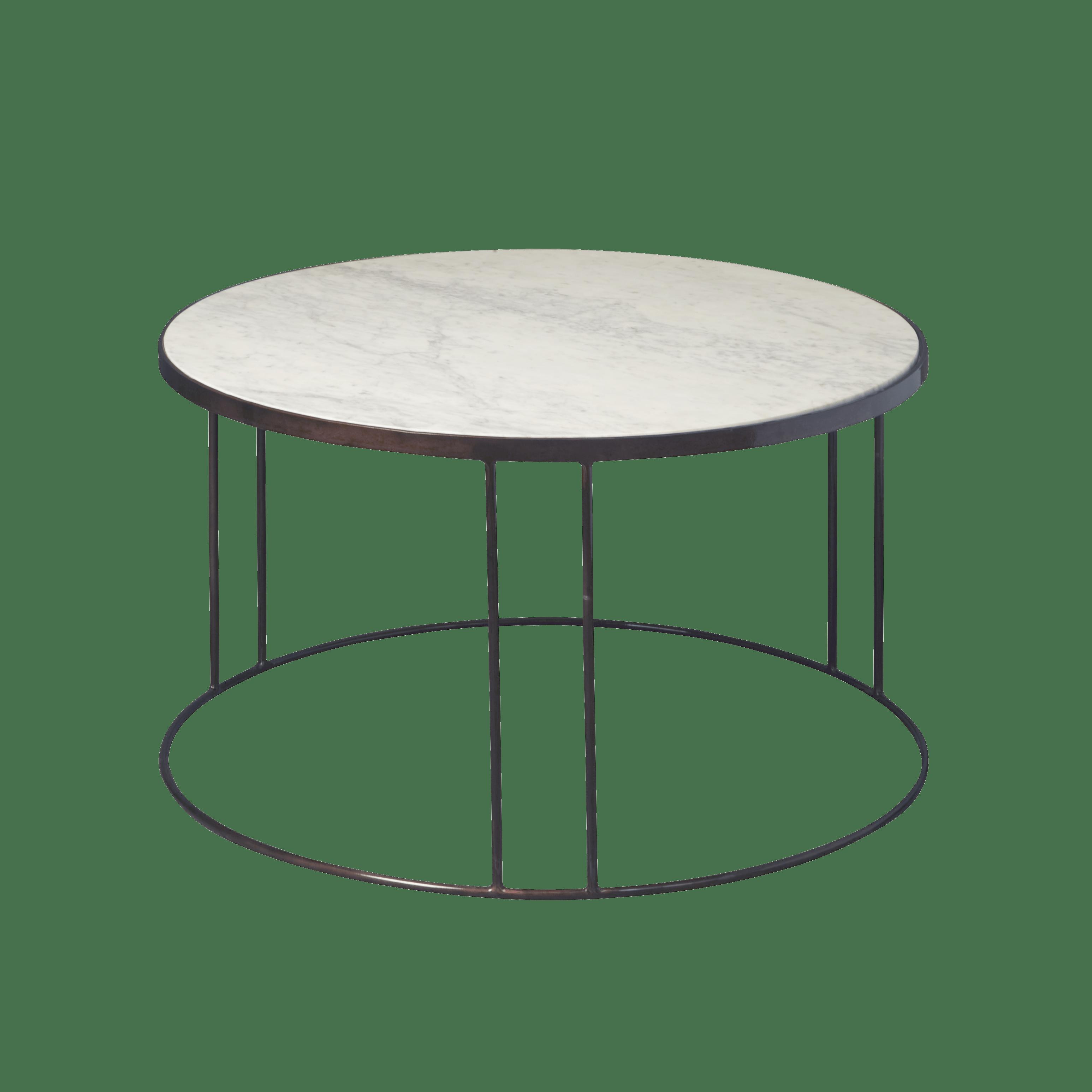 Tafel - Salontafels - Iron coffee round table w marble top 81x81x48